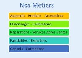 Nos Métiers : Appareils, Produits, Accessoires, Etalonnages, Calibrations, Réparations, Service Après Ventes, Faisabilités, Conseils, Formations,...