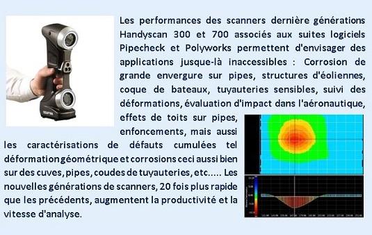 Les performances des scanners dernière générations Handyscan 300 et 700 associés aux suites logiciels Pipecheck et Polyworks permettent d'envisager des applications jusque-là inaccessibles : Corrosion de grande envergure sur pipes, structures d'éoliennes, coque de bateaux, tuyauteries sensibles, suivi de déformations, évaluation d'impact dans l'aéronautique, effets de toits sur pipes, enfoncements, mais aussi les caractérisations de défauts cumulées tel déformation géométrique et corrosions ceci aussi bien sur des cuves, citernes, pipes, coudes de tuyauteries, etc.....  Les nouvelles générations de scanner, 20 fois plus rapide que les précédents, augmentent la productivité et la vitesse d'analyse. La répétabilité et la traçabilité des résultats permettent une fiabilité et un suivi des contrôles.