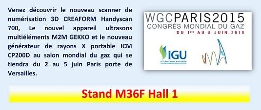 Venez découvrir le nouveau scanner de numérisation 3D CREAFORM Handyscan 700, Le nouvel appareil ultrasons multiéléments M2M GEKKO et le nouveau générateur de rayons X portable ICM CP200D au salon mondial du gaz qui se tiendra du 2 au 5 juin Paris porte de Versailles - Stand M36F Hall 1