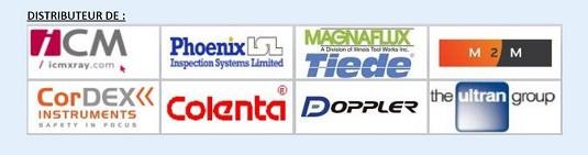 Distributeur de : ICM X-Ray, Phoenix ISL, Magnaflux Tiede, M2M, CordEx, Colenta, Doppler, Ultran,...