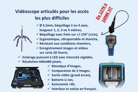 Vidéoscope articulés pour les accès les plus difficiles de 1276 à 1698€HT
